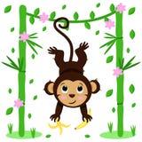 Плакат с милой обезьяной и бамбуком - вектором, иллюстрацией, eps иллюстрация штока