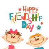 Плакат с названием и детьми дня приятельства также вектор иллюстрации притяжки corel Стоковое фото RF