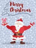 Плакат с рождеством santa поздравляет с подарком стоковая фотография