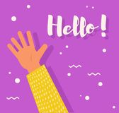 Плакат с рукой здравствуйте! Стоковые Фотографии RF