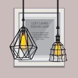 Плакат с стильными, современными, геометрическими, дизайнерскими люстрами Стоковые Изображения RF
