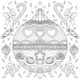 Плакат темы Нового Года черно-белый с украшениями, лентой и снежинками Страница книжка-раскраски для взрослых и детей бесплатная иллюстрация