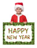 плакат удерживания рождества мальчика стоковое изображение