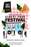 Плакат фестиваля еды улицы или шаблон дизайна знамени Выходные лета и отдых событий на открытом воздухе r иллюстрация вектора