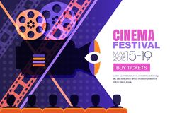 Плакат фестиваля кино вектора, предпосылка знамени Билеты театра кино продажи, время кино и концепция развлечений Стоковые Фотографии RF