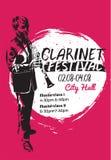 Плакат фестиваля кларнета иллюстрация вектора