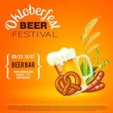 Плакат фестиваля пива Oktoberfest Стоковое Изображение