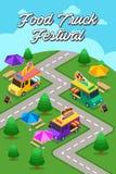 Плакат фестиваля тележки еды улицы стоковая фотография