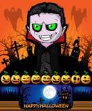 Плакат хеллоуина с вампиром также вектор иллюстрации притяжки corel Стоковые Фото