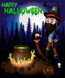 Плакат хеллоуина с пиратом в иллюстрации вектора леса Стоковое Изображение