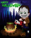 Плакат хеллоуина с убийцей с маской в иллюстрации вектора леса Стоковое Фото