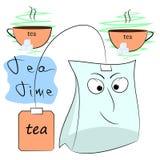 Плакат шаржа времени чая Стоковые Изображения RF