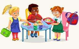 Плакат школьного обеда красочный иллюстрация вектора