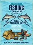 Плакат equipement рыбной ловли спорта рыболова вектора Стоковое фото RF