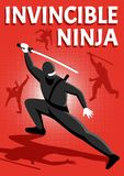 Плакат Ninja равновеликий иллюстрация вектора