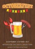 Плакат Octoberfest показывая кружку и еду пива иллюстрация штока