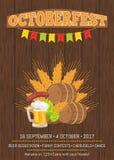 Плакат Octoberfest с бочонками, едой и пивом иллюстрация штока