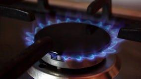 Пламена в горелке плиты видеоматериал