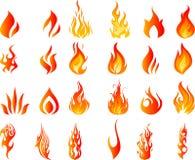 Пламена огня горя горячими Стоковое Изображение RF