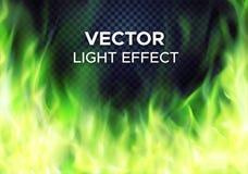 Пламена огня зеленого цвета вектора на прозрачной предпосылке иллюстрация вектора