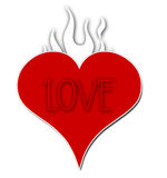 пламенеющая влюбленность сердца Стоковое Изображение RF