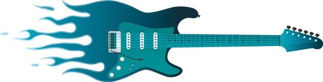 Пламенеющая гитара Стоковые Изображения