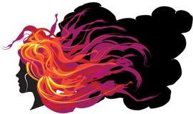 пламенеющие волосы девушки Стоковое фото RF