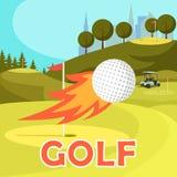 Пламенистая муха шара для игры в гольф около отверстия отмеченного с эмблемой революции иллюстрация штока