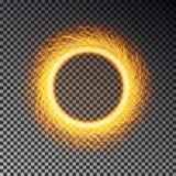 Пламенистое изолированное влияние круга искр Вектор кольца бенгальского огня Волшебная круглая искра, fierly рамка пламени иллюстрация штока