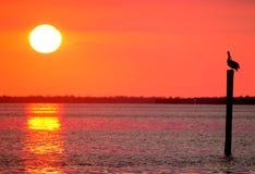 Пламенистый заход солнца на холодной воде Стоковое Изображение
