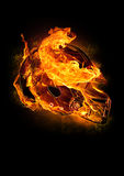 пламенистый шлем футбола Стоковая Фотография RF