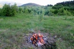 Пламя и золы горы carpathians Украина Стоковое Изображение RF