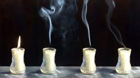 пламя конца свечки стоковое изображение