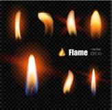 Пламя лихтера огня свечи вектора реалистическое иллюстрация штока