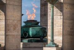 Пламя национального флага мемориального Monumento Nacional Ла Bandera - Rosario, Санта-Фе, Аргентина стоковые фотографии rf