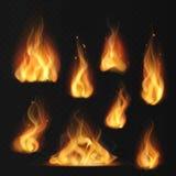 пламя реалистическое Факела конспекта влияния огня файрбола пламена теплого красные пылая изолированный набор вектора иллюстрация вектора