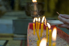 Пламя свечки свет Стоковое Изображение RF
