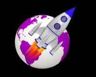 Планета взлета ракеты земли иллюстрация вектора