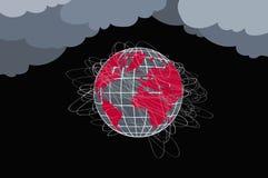 Планета в опасности Глобус в красных и черных цветах, много линий стоковое изображение rf