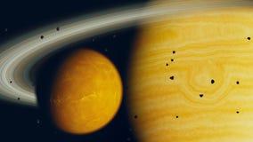Планета газа и луна, 3d представляют Стоковые Фото