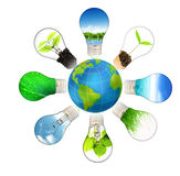 планета зеленого цвета энергии принципиальной схемы сохраняет Стоковые Изображения