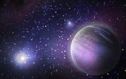 Планета и звезды в космосе Стоковая Фотография