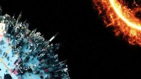 Планета кибер Технология космоса иллюстрация вектора