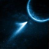планета летания кометы к Стоковое Изображение