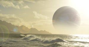 Планета океана с луной Стоковое фото RF