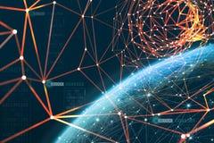 Планета окружена глобальной информационной сетью Технология Blockchain защищает данные Эра искусственного интеллекта стоковая фотография