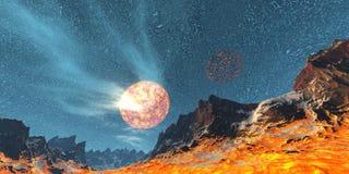 планета пожара иллюстрация штока