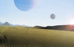 Планета пустыни с лунами Стоковые Фото