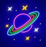 Планета Сатурна с кольцами в неоне космоса Стоковые Изображения