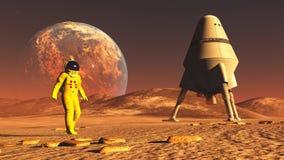 Планета чужеземца астронавта стоковая фотография rf